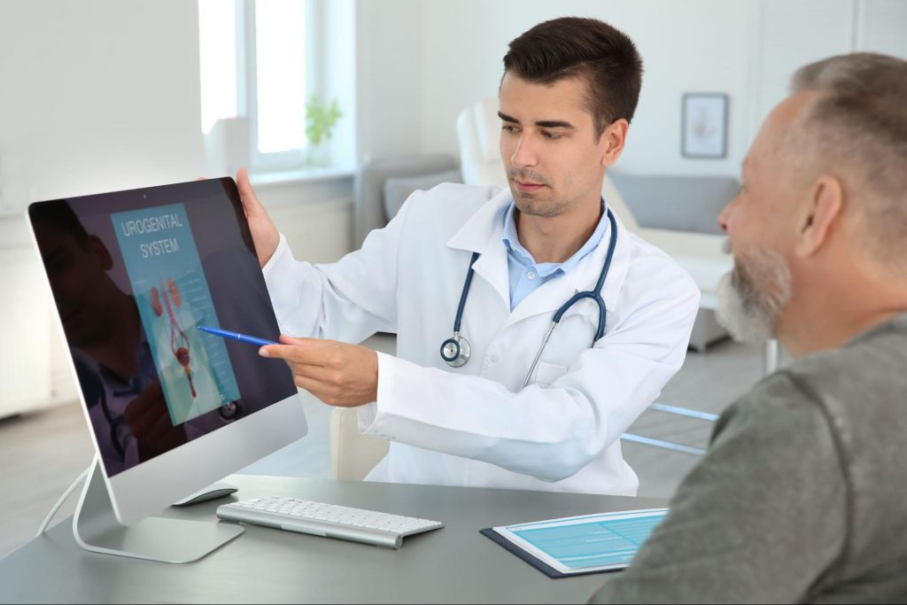 A doctor talking to his patient about Rezum