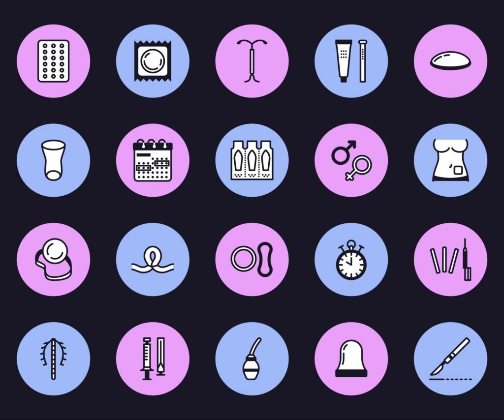 different icons of contraceptives to represent how a vasectomy compares to other contraceptives